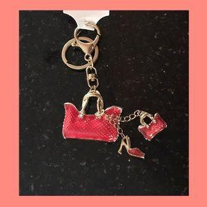 Pink vintage purse keychain